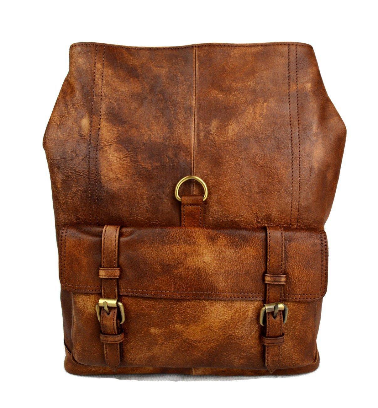 Amazon.com: Vintage leather backpack genuine washed leather travel bag weekender sports bag gym bag leather shoulder ladies mens brown backpack: Handmade