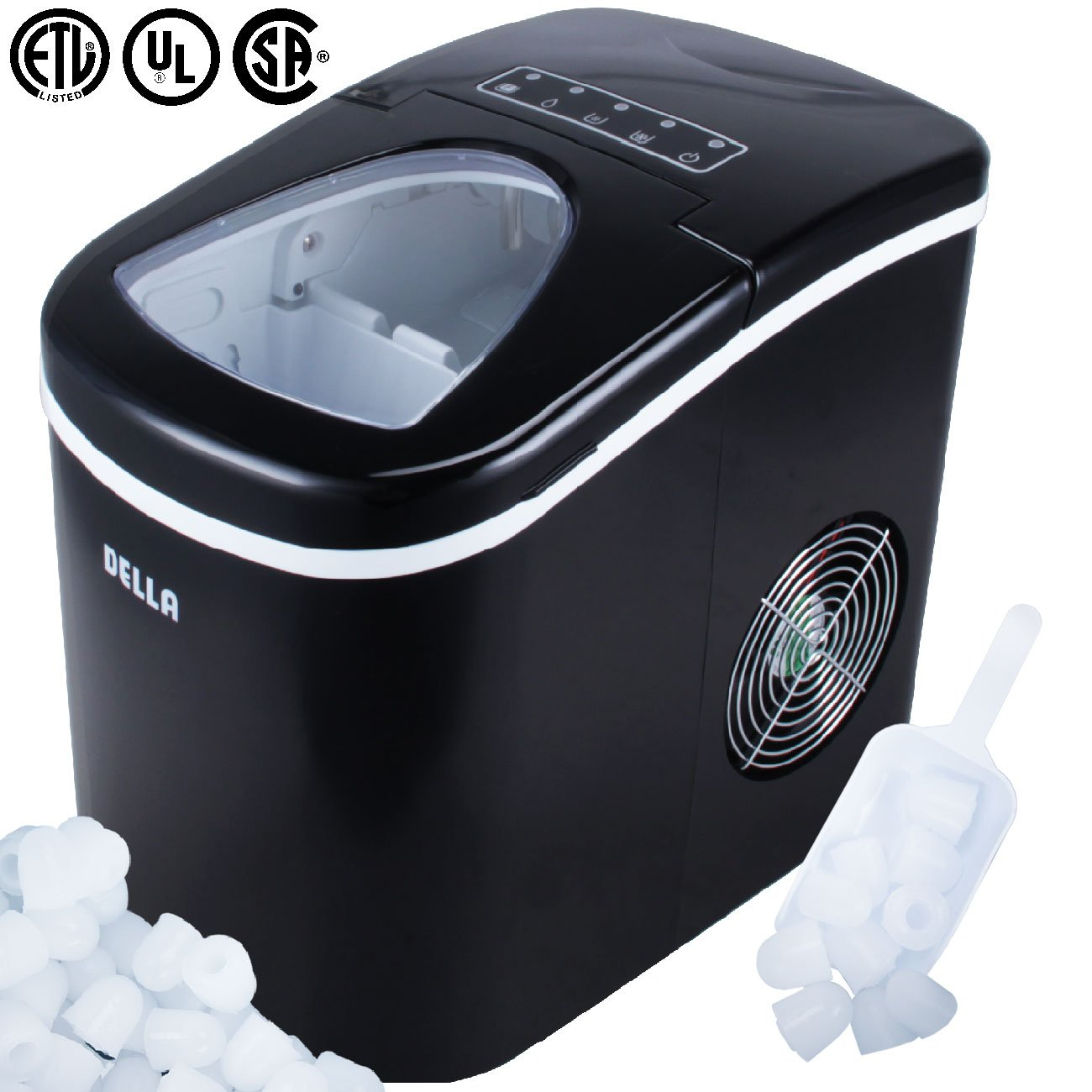 Della Portable Ice Maker, Produces up to 26 lbs. of Ice Daily, 2-Size (Black) 048-GM-48186
