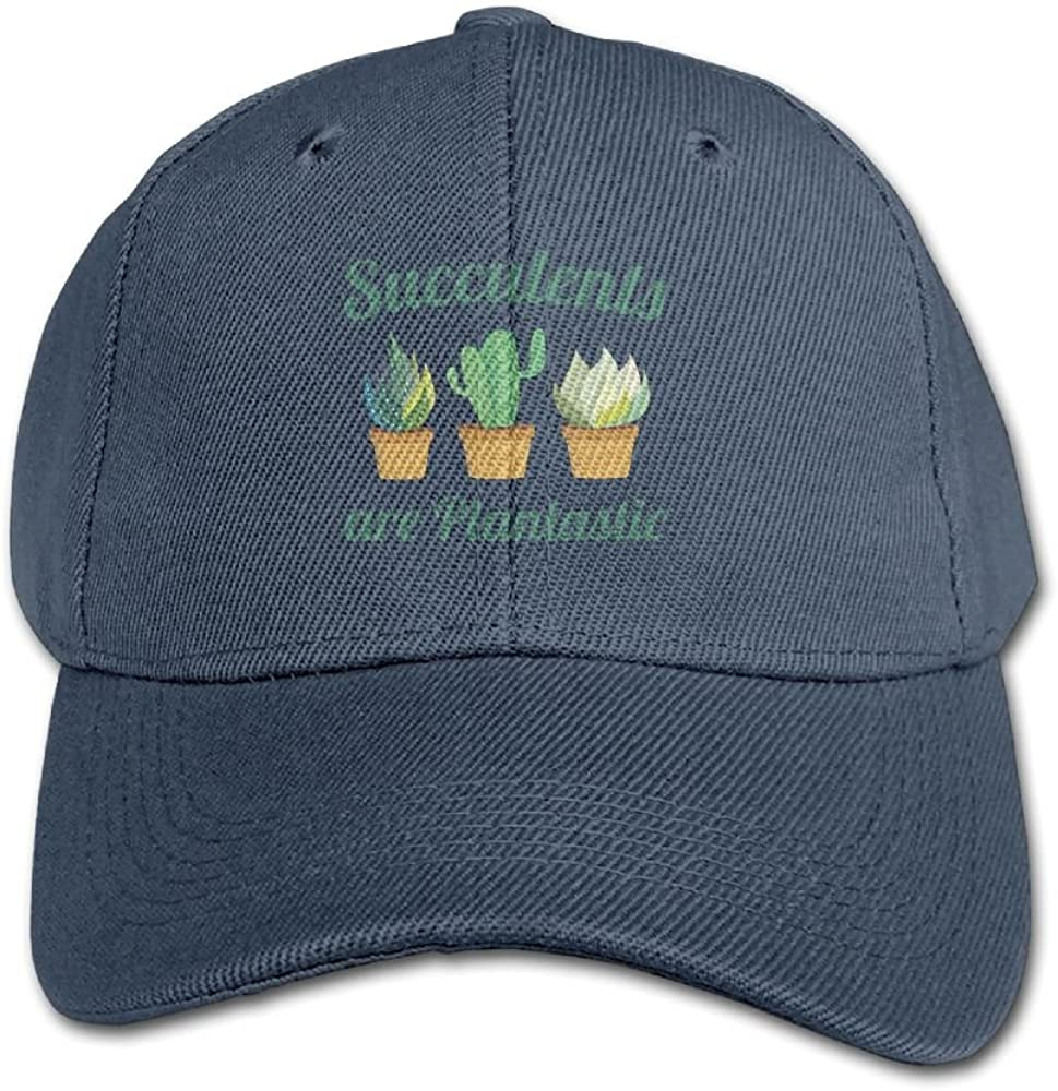 Haibaba Succulents are Plantastic Boys and Girls Black Baseball Caps Solid Hats