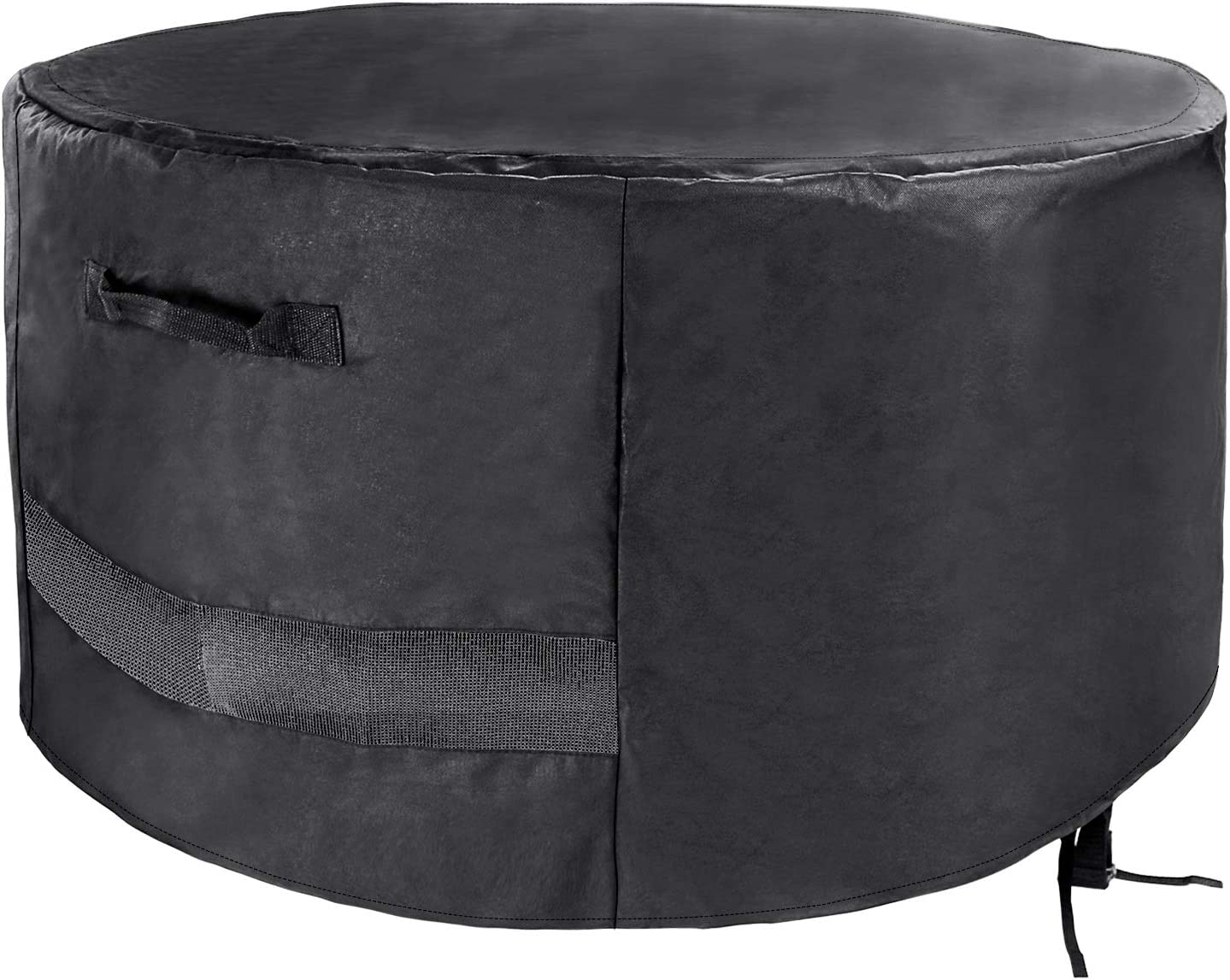 Uniflasy Round Fire Pit Cover, Weather Resistant and Waterproof 600D Heavy Duty Round Patio Firepit Bowl Cover, Outdoor Garden Patio Heater Cover, Black, 36 Inch