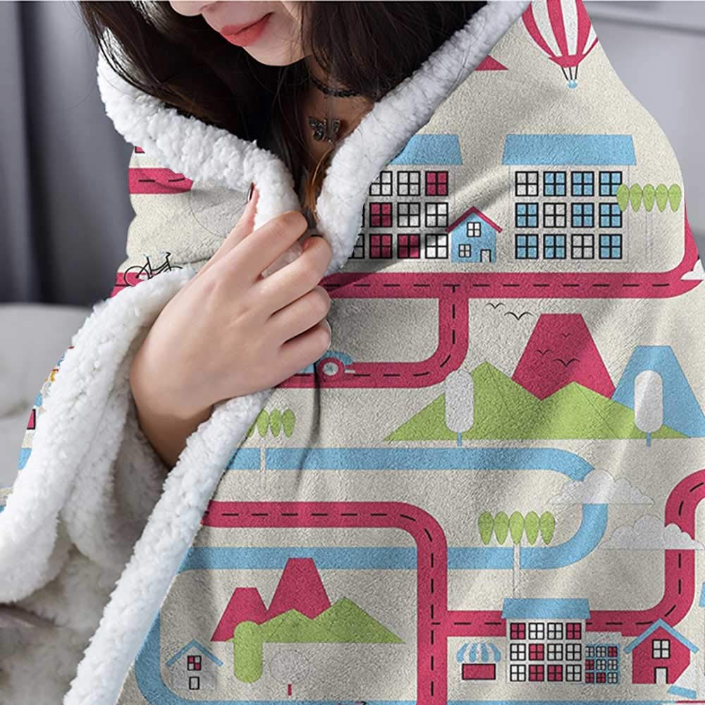 Willsd City Custom Blanket Cityscape at Night Abstract Display with Silhouettes with Colorful Dots Bokeh Effect Personalized Baby Blanket Multicolor W59 x L47