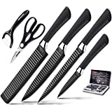 Knife Set, Stainless Steel Knife Set with Black - 6-Piece Kitchen Knives Set Chef Knife Set, Steak Knives, Carving knife, fruit knife,Scissors Pizza Knife & Peeler - Best Cutlery Set Gift ERERRICH