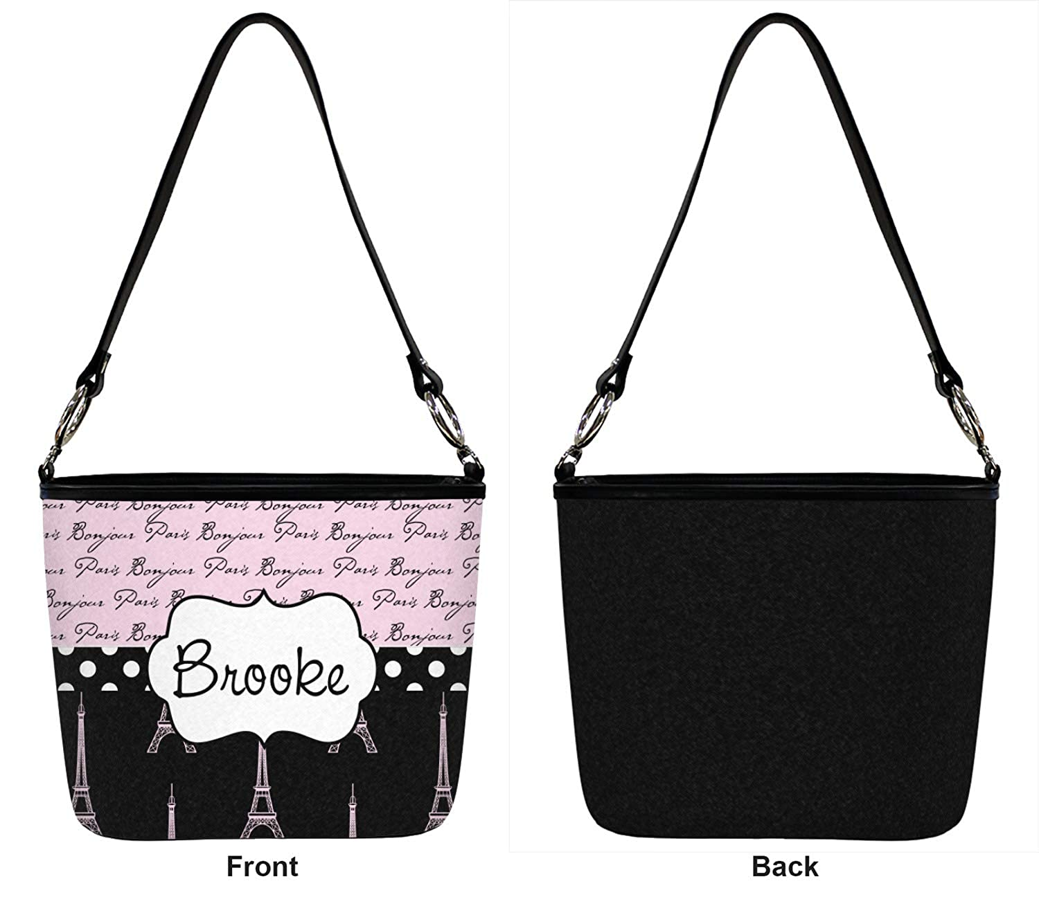 Personalized Regular Front Paris Bonjour and Eiffel Tower Bucket Bag w//Genuine Leather Trim