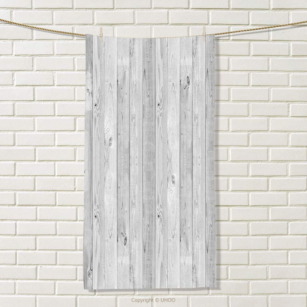 smallbeefly Grey Sports Towel Picture of Smooth Oak Wood Texture in Old Fashion Retro Style Horizontal Nature Design Print Absorbent Towel Gray Size: W 35.5'' x L 17''
