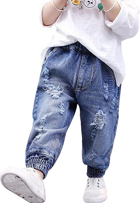 ccf99f11e70 EGELEXY Baby Boy Girl Cool Ripped Elastic Denim Trousers Kid Hip Pockets Pants  Jeans Size 12