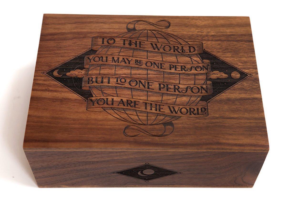 You Are The World Laser Cut Wood Keepsake Box (Wedding Gift/Baby Shower Gift/Heirloom / Decorative/Handmade)