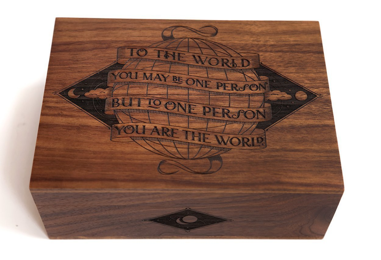 You Are The World Laser Cut Wood Keepsake Box (Wedding Gift / Baby Shower Gift / Heirloom / Decorative / Handmade) by Cardtorial