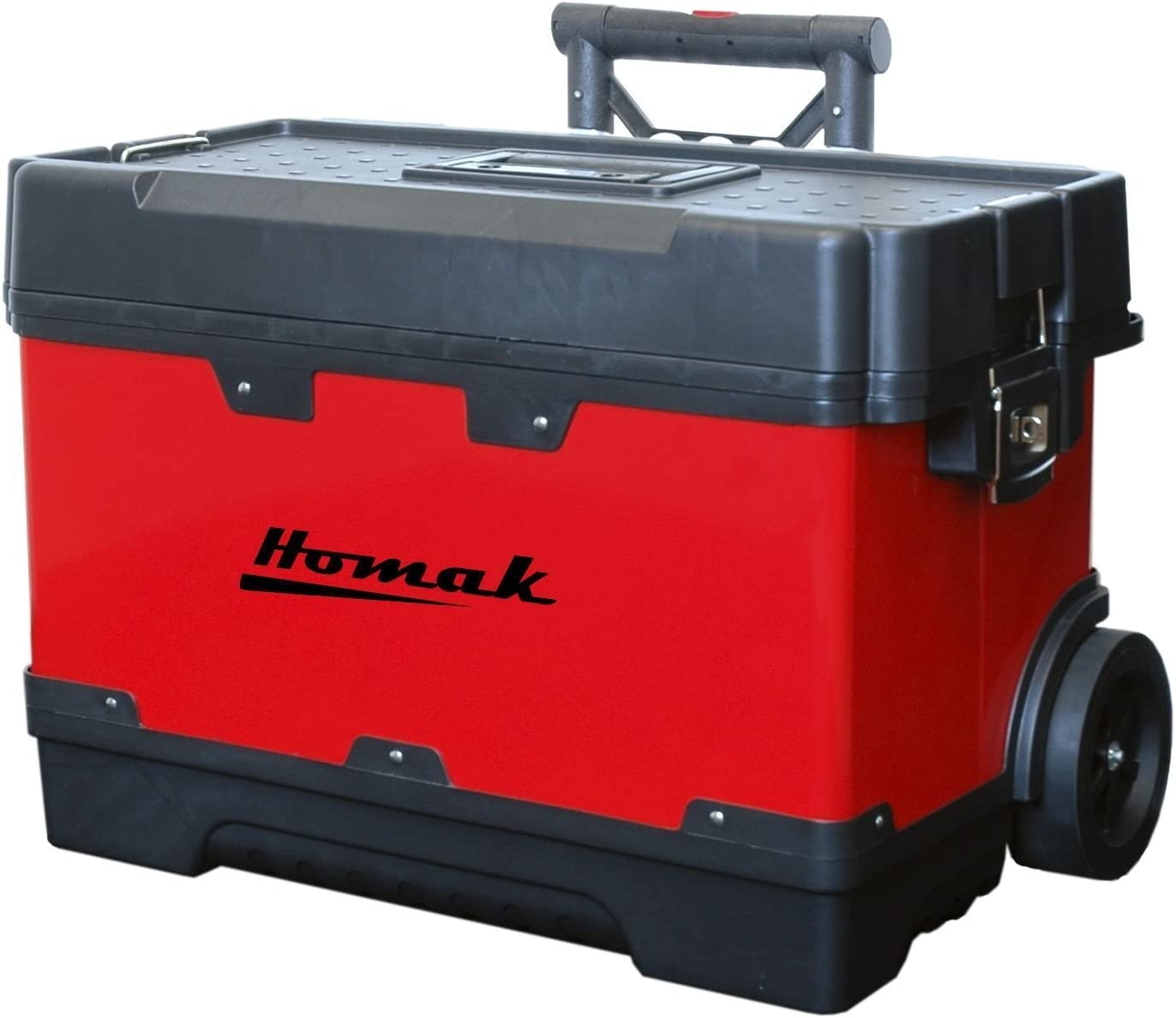 Homak 23-1 4-Inch Metal and Plastic Roll Away Toolbox with Retractable Aluminum Handle, Red, RD00423002