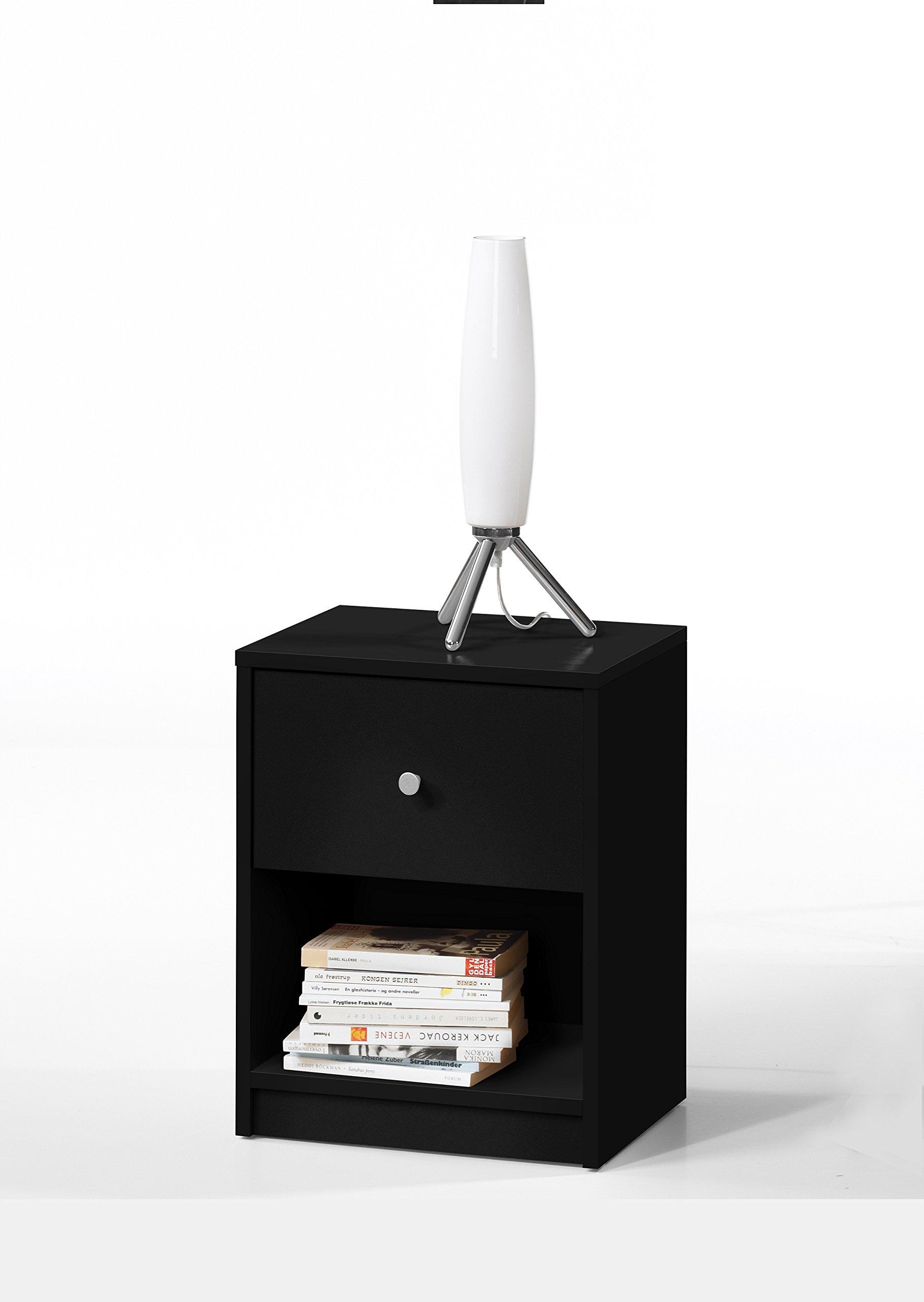 Tvilum 7033186 Portland 1 Drawer Nightstand, Black by Tvilum