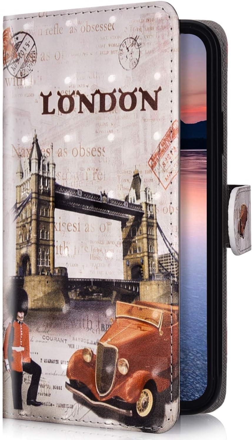 Uposao Compatible para Xiaomi Redmi Note 7 Funda Piel PU Cuero Libro Flip Cover con Tapa,Glitter Brillante Purpurina Cubierta Billetera Soporte Plegable Ranura Tarjeta,Cierre Magnético,Londres