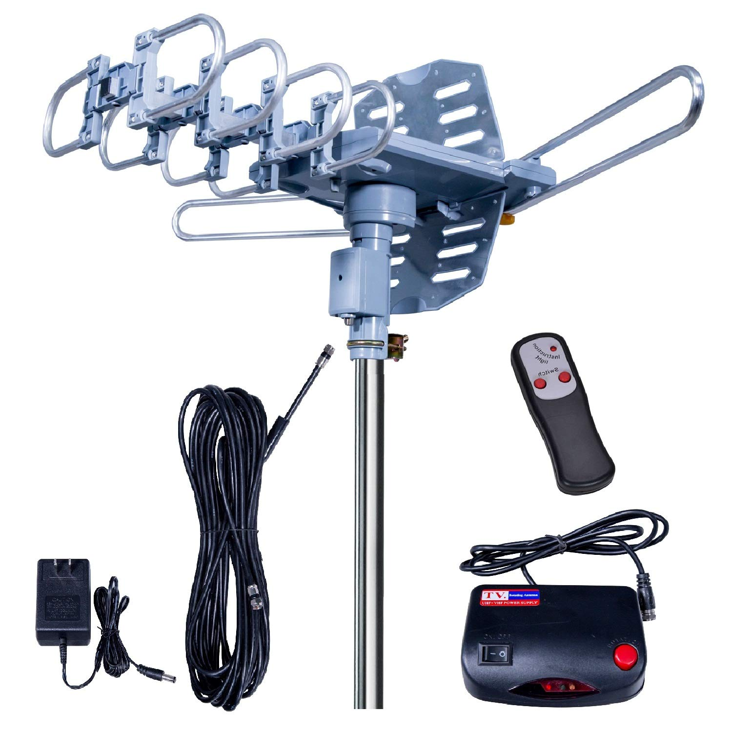 2019UPDATED!150 Miles-Amplified Outdoor TV Antenna-4K/1080p High Reception+40FT RG6 Cable-360°Strong Motor Rotation Wireless Remote- Snap On Installation+2TV Function by Fardalo