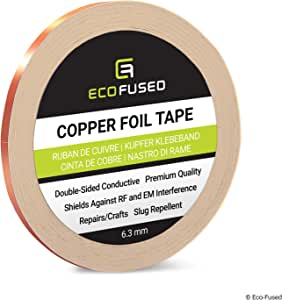 Eco-Fused Adhesive Copper Foil Tape - Double-Sided Conductive - EMI, Rf Shielding, Paper Circuits, Electrical Repairs, Grounding, 1 Roll - Copper Adhesive 0.25 inch / 6.3 mm