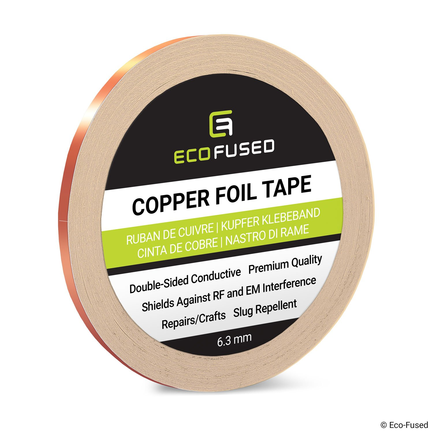 Premium Adhesive Copper Foil Tape - Double-Sided Conductive - 0.25 inch (6.3 mm) - EMI and RF Shielding, Paper Circuits…