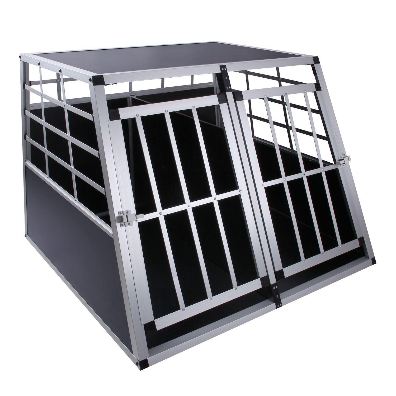 Cage de transport pour chien avec cloison et 2 portes - 97 x 90 x 70 cm - Aluminium - Cage de transport pour la voiture - DC3 cs-trading