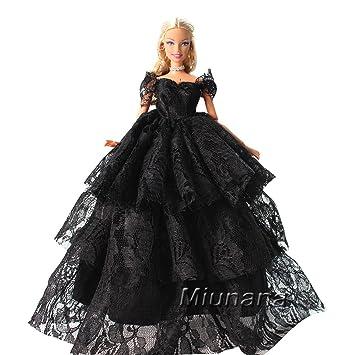 632593465 Amazon.es  Miunana 1 Vestido de Noche con Encaje Vestir Ropa Princesa  Fiesta para Muñeca Barbie Doll - Negro  Juguetes y juegos