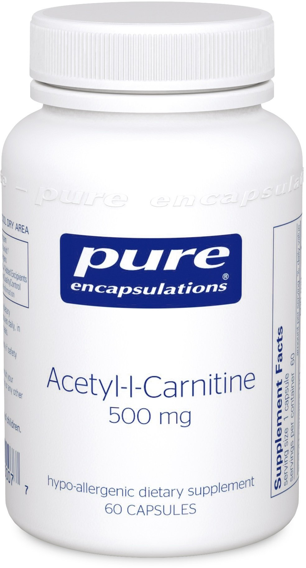 Pure Encapsulations - Acetyl-l-Carnitine 500 mg - Hypoallergenic Supplement to Promote Memory and Attention* - 60 Capsules