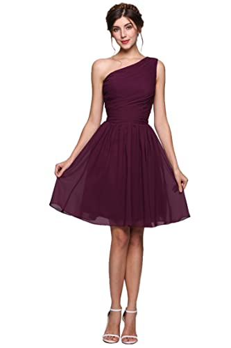 ANGVNS Women's Summer One Shoulder Chiffon Pleated Short Bridesmaid Cocktail Party Dresses