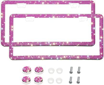 Otostar Bling Bling Car License Plate Frame Violet 4 Rows 2 Holes 2 Pack Handmade 8 Facets Rhinestones Stainless Steel License Plate Holder Cover with Screws Caps