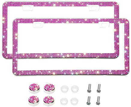 Otostar 2 Pack Bling License Plate Frames Violet Handcrafted 6 Rows Shiny Rhinestones Stainless Steel 4 Holes License Plate Frame with Anti-Theft Screws Caps Set