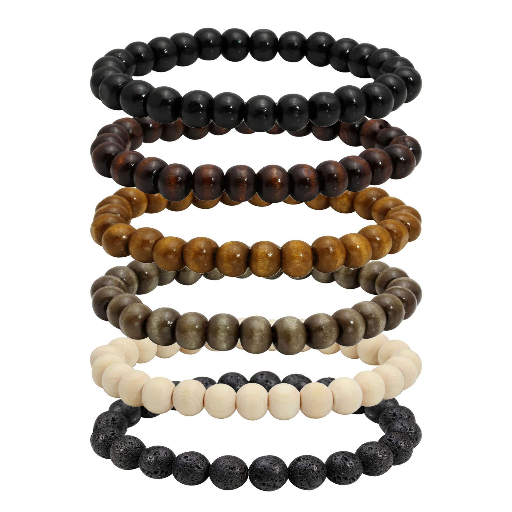 MILAKOO 10 Pcs 8mm Natural Wood Beads Bracelet Mala Prayer Beads Meditation Link Wrist