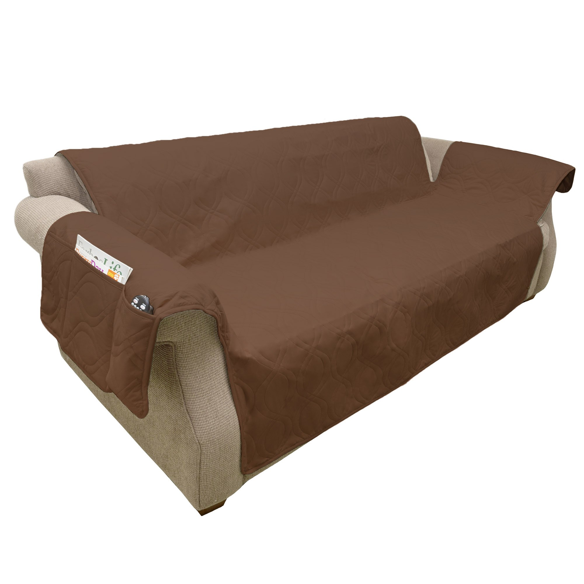 PETMAKER Furniture cover, 100% Waterproof Protector Cover for Couch/Sofa by, Non-Slip, Stain Resistant, Great for Dogs, Pets, and Kids – Brown