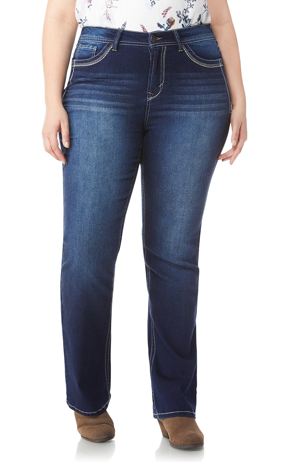 WallFlower Women's Juniors Plus-Size Classic Legendary Bootcut Jeans in Amy, 18 Plus