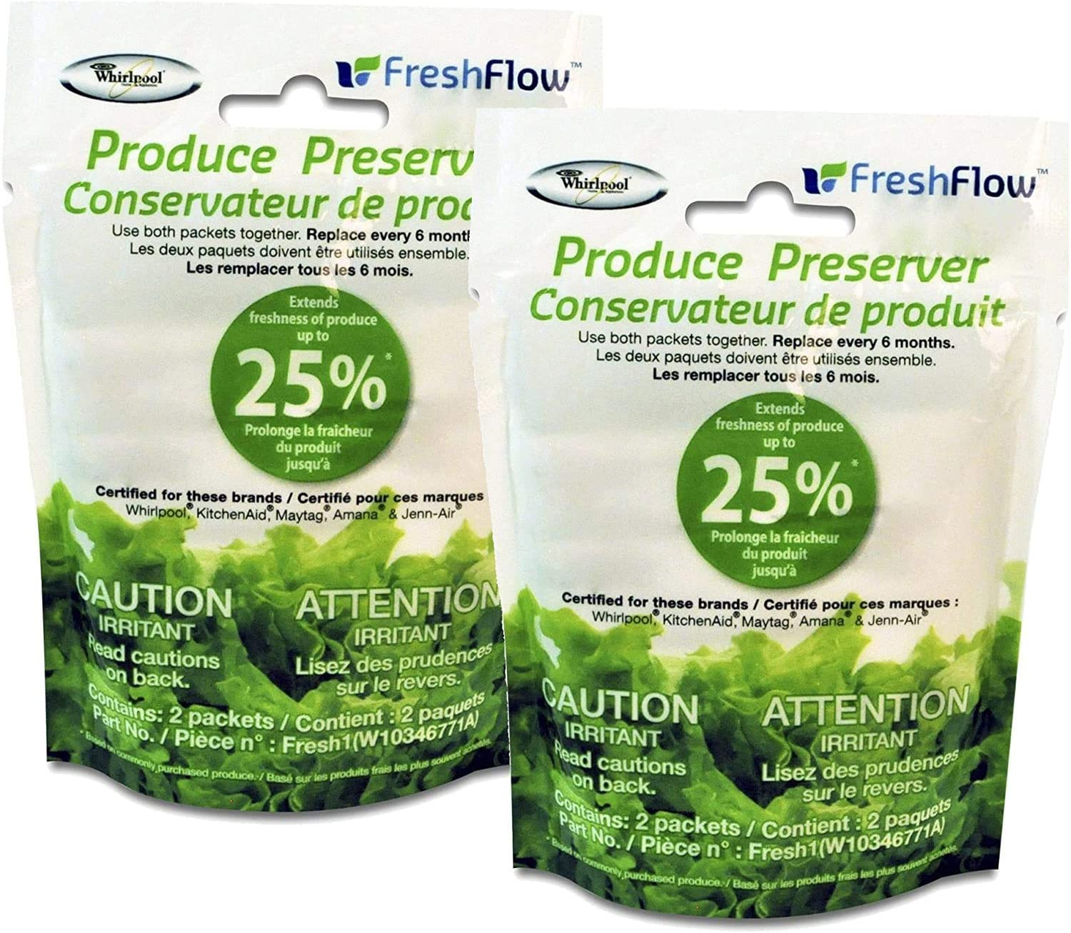 Fresh Flow W10346771A Produce Preserver Filter for Whirlpool Refrigerator's 2-Pack