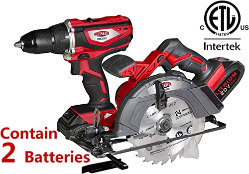 Dobetter Power Tools Combo Kit, Power Tool Kit Cordless Drill Driver 1 2 Inch Impact Driver and Circular Saw 2 packs of battery