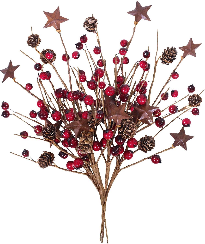 Winlyn 4 Pcs Rusty Star and Pip Berry Spray Christmas Flower Arrangement Centerpiece Arrangement Christmas Display