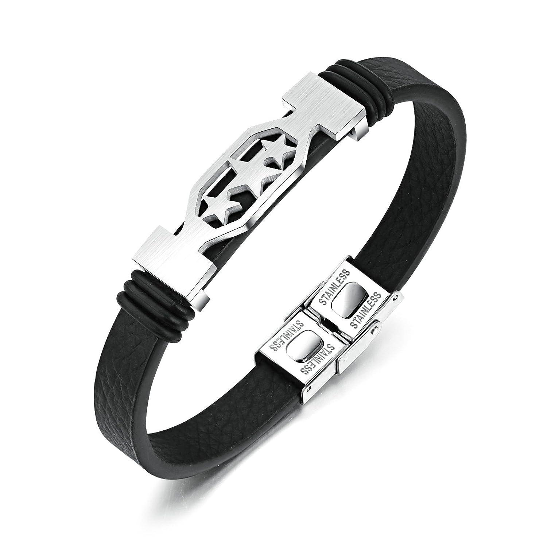 Gnzoe Men Braided Leather Bracelet Bangle Bracelet Stars