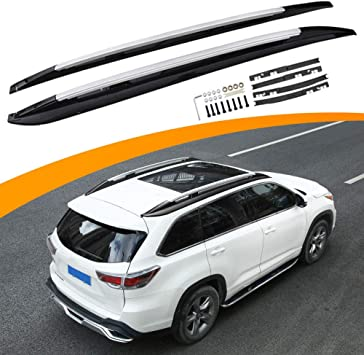 Amazon Com Snailauto Fit For Toyota Highlander 2014 2019 Black Roof Rack Rails Cross Bars Cargo Luggage Holder Automotive