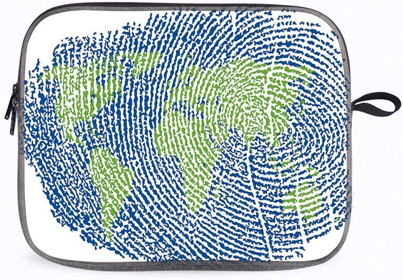 """World Map Map Asia 13"""" Laptop Sleeve Compatible with 13 inch MacBook Pro A2 159 A 1989 A 1706 A 1708"""