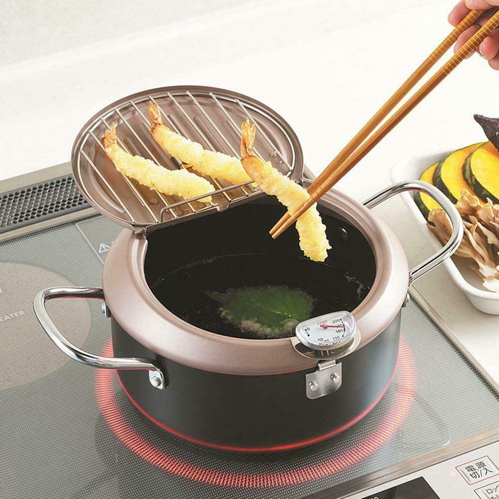 XIANGYANG Tempura Fry Pan Nonstick Deep Fryer with Drainer Rack Japanese Iron Tempura Fryer Kitchen Tempura Pot (with thermometer)