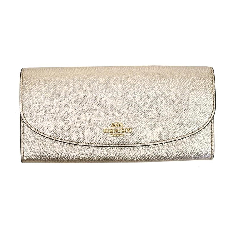 5af8e76170e NWT COACH Card Case Glitter Crossgrain Leather Light Gold Platinum F2333  IMLH4