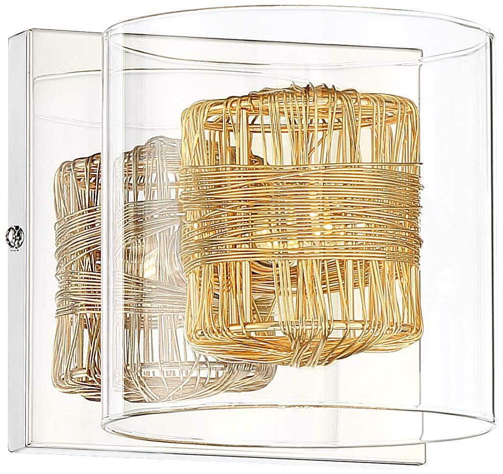 Wrapped Wire Modern Wall Light Sconce LED Chrome Hardwired 5 1 4 High Fixture Gold Wire Clear Glass for Bedroom Bathroom Hallway – Possini Euro Design