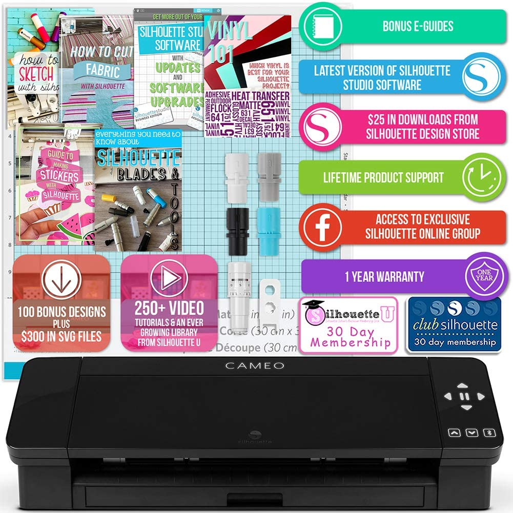 Silhouette Black Cameo 4 Starter Bundle with 36 Oracal Vinyl Sheets T-Shirt Vinyl Transfer Paper Guides and 24 Sketch Pens Class