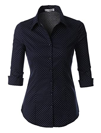 LE3NO Womens Roll Up 3/4 Sleeve Button Down Shirt with Stretch at ...