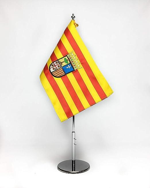 ABBE Global Bandera de Mesa Bordada de Aragón 15x25 y mástil: Amazon.es: Hogar