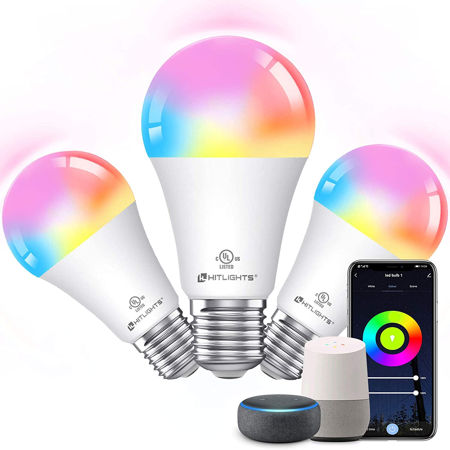 Smart WiFi LED Light Bulb Dimmable, HitLights UL Listed RGB Lightbulbs Work with APP Alexa Google Home, Color Changing Light Bulb for Bedroom, A19 E26 9.5W 60W Equivalent, 3 Pack (Multi-Colored)…