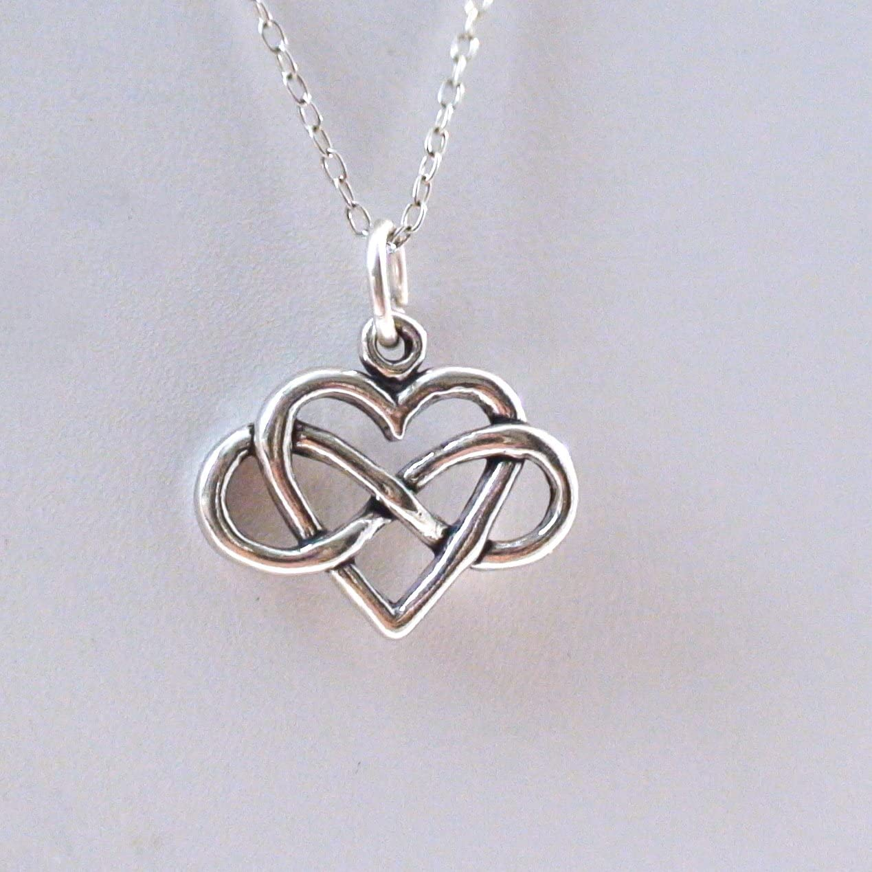 FashionJunkie4Life Sterling Silver Small Infinity Heart Charm Necklace 18 Chain