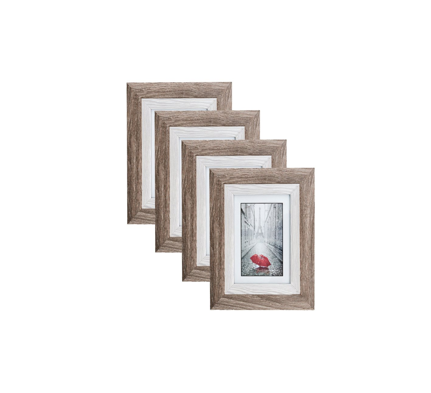 Distressed Brown MDF Wood Picture Frame 4X6 (4 pc) Display with Photo Glass Front, Easel Back, and Wall Hang Clip | 4 Piece Set