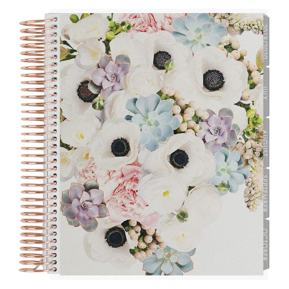 Erin Condren 12-Month July 2019 - June 2020 Coiled LifePlanner - in Bloom Rose Gold Metallic, Rose Gold Coil, Hourly (Neutral Layout)