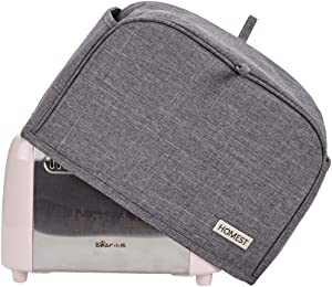 HOMEST 2 Slice Toaster Cover with Pockets, Can Hold Jam Spreader Knife & Toaster Tongs, Dust and Fingerprint Protection, Machine Washable, Grey (Patent Design)