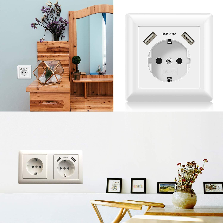 Alanan Enchufe para la pared Z/ócalos USB Toma de pared Schuko empotrada con 2 cargadores de conexi/ón USB blanco 2.8A 2 Pack