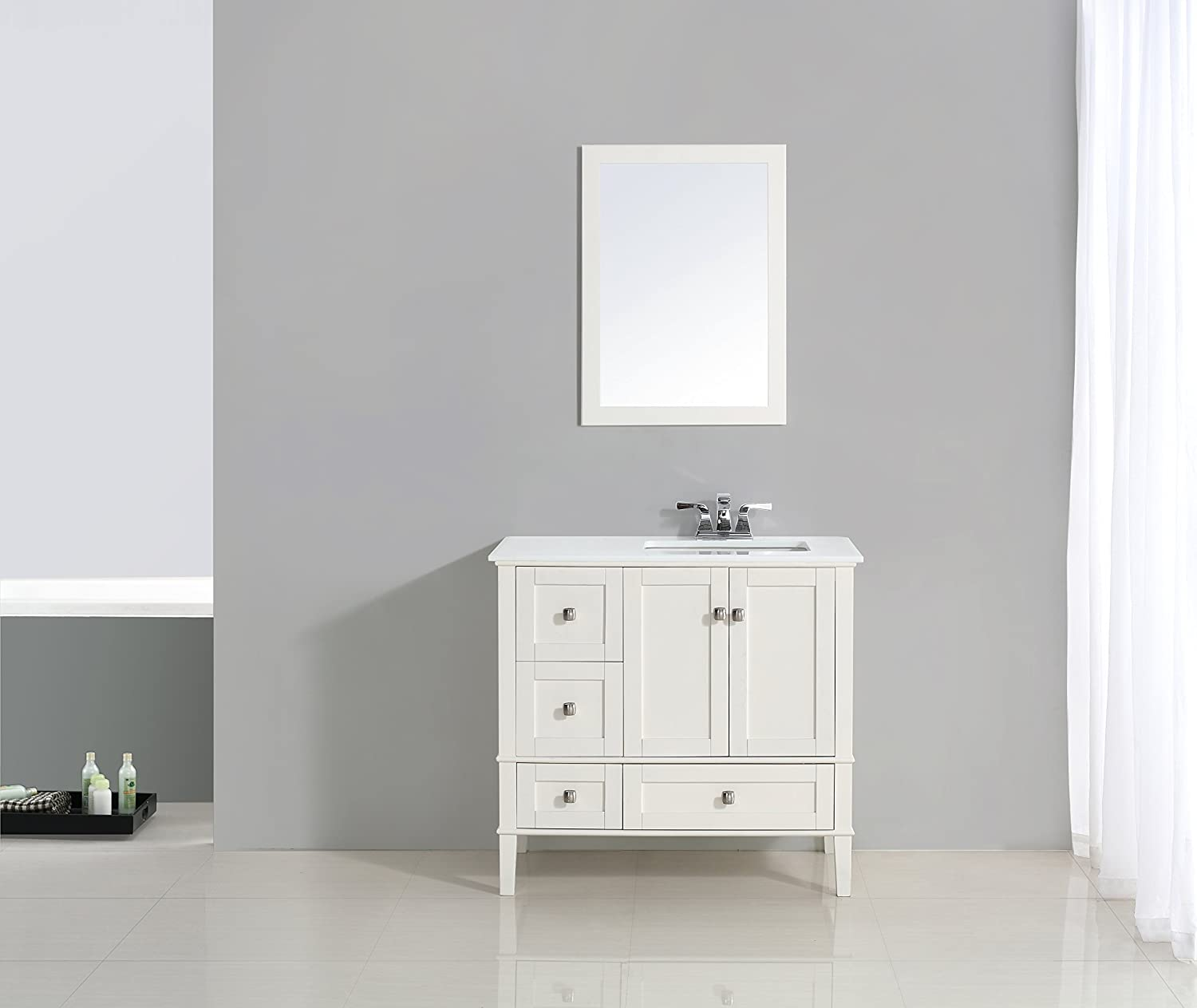 Simpli Home Chelsea 36 Right Offset Bath Vanity With White Quartz Marble Top Soft White Amazon Com