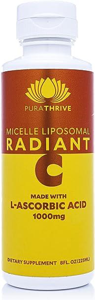 PuraTHRIVE Enhanced Immune Support Vitamin C Liquid Supplement, w/ 1600% Daily Value   Micelle Liposomal Enhanced Bioavailability & Absorption, Certified Non-GMO, Gluten Free, 15 Day Supply