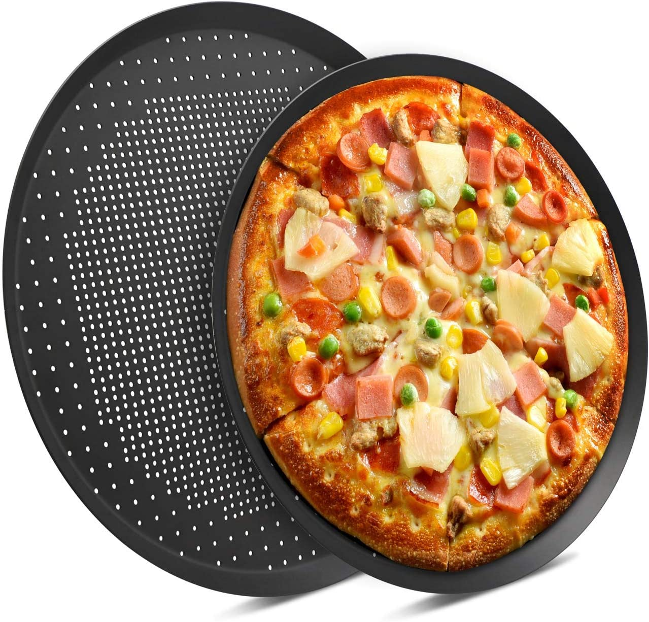 Pizza Pans with Holes, Beasea 2 pack 14 & 16 Inch Nonstick Pizza Crisper Pan Vented Pizza Baking Tray Bakeware Tool Round Pizza Pans for Pie, Cookie, Cake