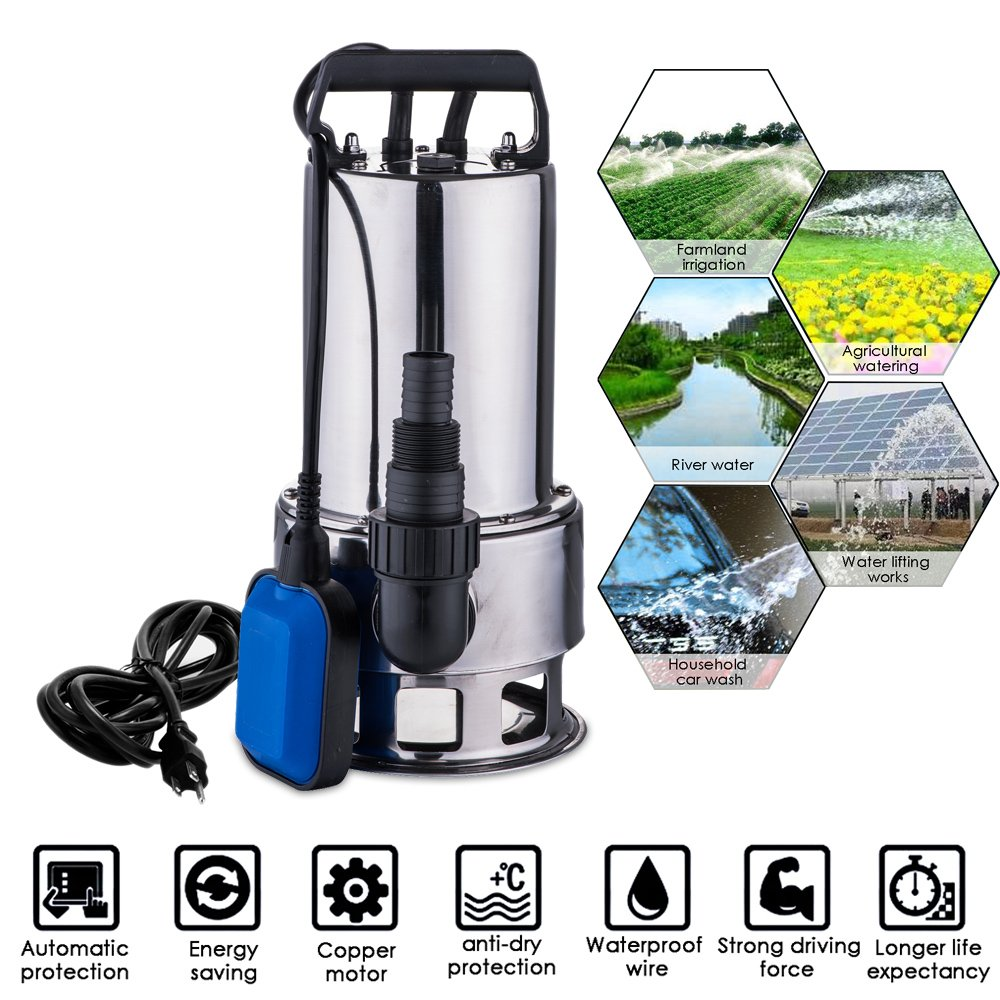Aceshin Stainless Steel 1.5 HP Submersible Water Sump Pump Float Switch Dirty Clean for Garden Home (Blue)