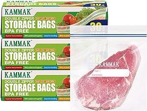 Ziplock Storage Bags Reusable Freezer Bags KAMMAK Double Zipper Snack Sandwich Bags Leakproof Seal Food Grade Safe Mini ZiplockBags Quart for Food Organization and Storage(6 6.5 inch 90Count)