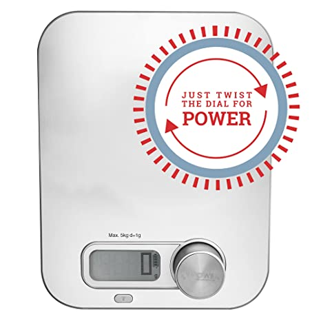 Battery Free Digital Kitchen Scale Just Twist The Dial For Power By Kinetic Power Scales Measures Food And Liquids Oz Lbs Grams Kgs